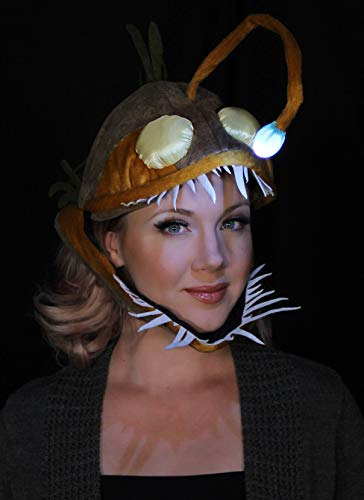 elope Festival Light Up Anglerfish Costume Hat for Kids and Adults Brown