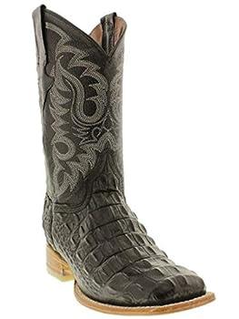 Mens Black Western Cowboy Boots Alligator Back Print Leather Square Toe 13 2E US