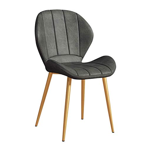 Contemporary Dining Chairs with Backrest Soft Cushion 1 Piece PU Kitchen Chair Faux Leather Seat Golden Metal Legs Reception Chairs (Color : Gray)