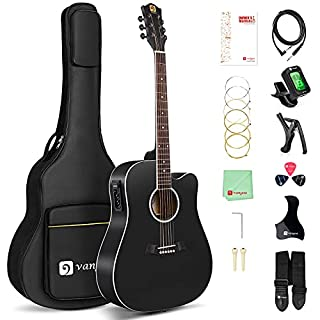 scheda vangoa chitarra acustica elettrica 4/4, equalizzatore a 4 bande cutaway 41 pollici chitarra elettroacustiche chitarre per principianti con kit di avvio, nero