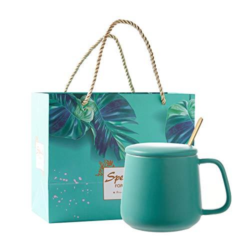 Heliansheng Taza de cerámica de Color contrastante hogar Creativo Simple con Tapa con Cuchara Taza de Agua Taza de café -Set 6-301-400ml-G646