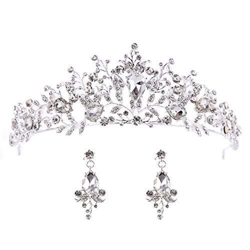 feilai Bridal Crowns Handmade Tiara Bride Headband Crystal Wedding Diadem Queen Crown Wedding Hair Accessories (Metal color : Silver With Earrings)