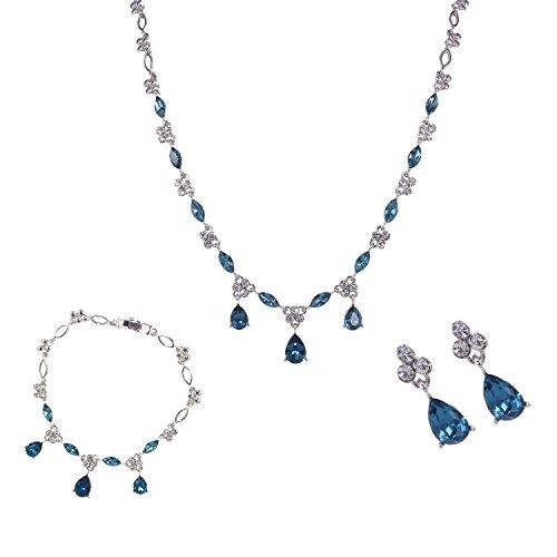 BiBeary Donna Cristallo Zircon CZ Elegante Lacrima Design Dangle Fiore ovalee Parure di Gioielli Set Collana Orecchinis Blu Tono Argento