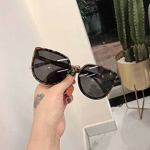 NZHK De Lujo Las Gafas de Moda Ronda Gato Ojo señoras Retro del diseño de Gran tamaño de Mujeres Gafas de Controladores Gafas de Sol polarizadas (Color : Leopard)