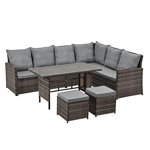 SVITA Monroe Garten-Lounge Set Polyrattan Lounge-Möbel Sitzgruppe Garten Braun