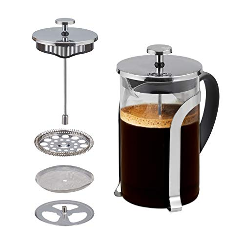 Best Review Of Relaxdays Coffee Maker, Glass Press, Stainless Steel Filter, 800 ml, Aromatic Flavour...