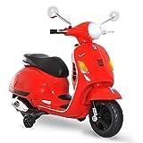 HOMCOM Scooter Moto électrique Enfants 6 V dim. 102L x 51l x 76H cm Musique MP3 Port USB klaxon Phare feu AR Rouge Vespa