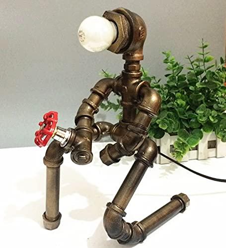 YANGLIXIA Robot Lamp Industrial, Lámpara de Mesa Industrial, Robot Light Retro Hierro Tubos de Agua Retro Tubería de Agua Robot Lámpara Robot Lámpara Steampunk Mesa Lámpara
