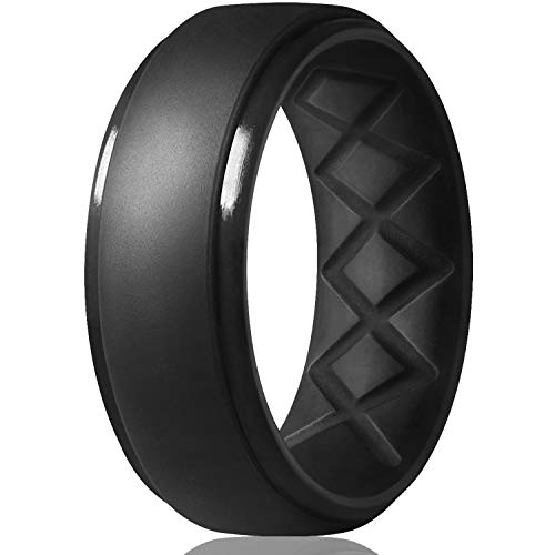 Silicone Rings Mens with Half Sizes 7 Rings // 4 Rings // 1 Ring Rubber Wedding Bands Egnaro Inner Arc Ergonomic Breathable Design 8.5mm Wide-2mm Thick