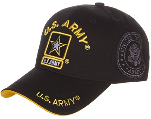 US Army Official License Structured Front Side Back and Visor Embroidered Hat Cap - Army Black