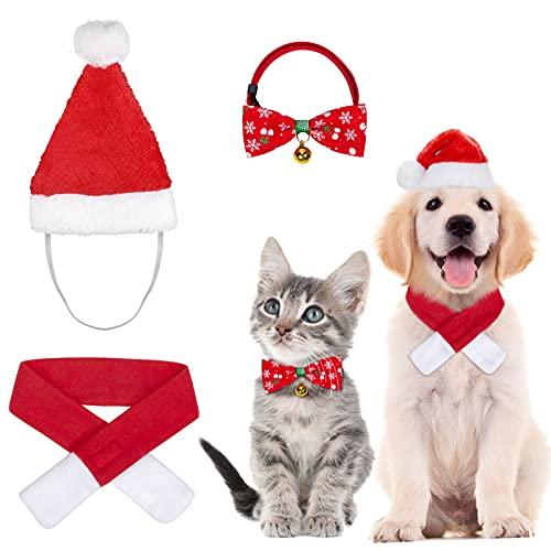 3 Stück Weihnachten Katzenkostüm Hundekostüm mit Weihnachtsmütze Fliege Halsband Halstuch, Haustier Weihnachtskleidung Hunde Katzen Kostüm Zubehör Set