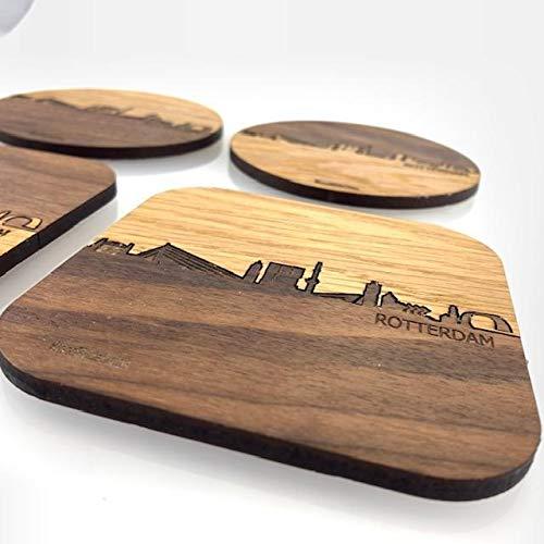 Skyline Onderzetters Rotterdam Luxe - Combinatie eiken en noten hout - 4 stuk(s) - 9x9 cm Vierkant met afgeronde hoeken - Cadeau - Woon decoratie - Woonkamer