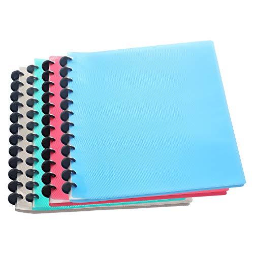 TUKA-i-AKUT 4pz PP Carpeta de Fundas con Espiral A4, 40 Fundas Transparentes PP Carpetas, para 80 hojas, Polipropileno Libro de Presentación con Anillas. Juego de 4 en 4 colores, TKD8029 bunt