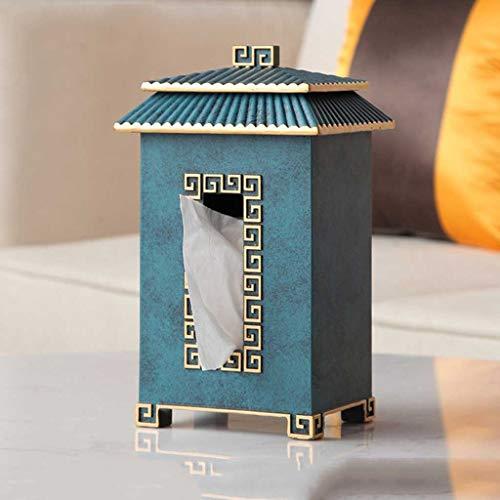 XZJJZ Caja de Papel de Escritorio de Estilo Chino Elegante Ligero con Textura Clara Retro casero Caja de Papel Creativo Pintura de Oro (Color : Green)