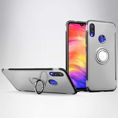 Fundas Xiaomi Estuche Protector de la Armadura del Anillo de rotación de 360 Grados magnético for Xiaomi Note 7 (Negro) Fundas Xiaomi (Color : Silver)