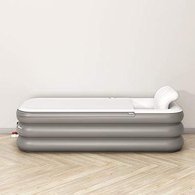 Inflatable Bath Tub Extra Large Comfortable Luxury PVC Portable Adult Bathtub Bathroom SPA with Electric Air Pump, Grey