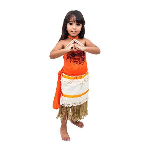Fantasia Princesa Moana Infantil Com Colar e Faixa (P)
