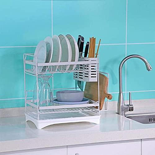Boîte de rangement de cuisine Dishoutorishuidez-t-à-la-vidange dans la vaisselle séchage de la boîte de séchage de la boîte de séchage en acier inoxydable à 2 niveaux avec bec pivotant, porte-vaissell