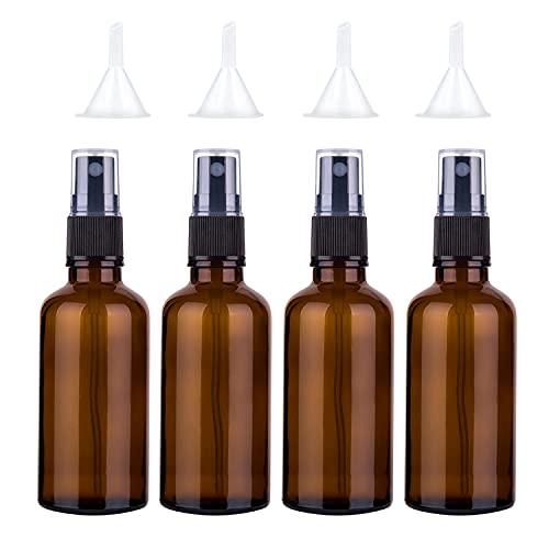 Sookg Lot de 4 flacons pulvérisateurs vides en verre de 100 ml - Fonction de pulvérisation et anti-ultraviolets - Pour huiles essentielles, parfums, solides (marron).
