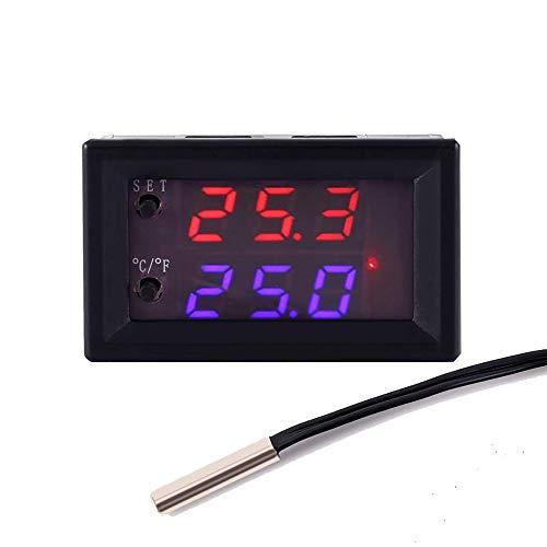 Icstation DC 12V Programmable Temperature Controller, Smart Home Incubator Aquarium Car Improvement Mini Digital Thermostat Regulator Switch Module Waterproof Sensor -58℉ to 230℉