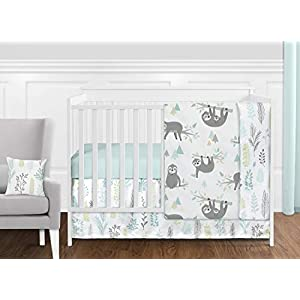 Sweet Jojo Designs Blue and Grey Jungle Sloth Leaf Baby Unisex Boy or Girl Nursery Crib Bedding Set – 11 Pieces – Turquoise, Gray and Green Tropical Botanical Rainforest