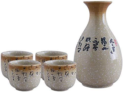 5-Teiliges Sake-Set, Sake-Cup-Set Mit Chinesischer Antiker Poesie, Weiße Keramikbecher, Malerische Textur, Für Kalt/Warm/Shochu/Tee
