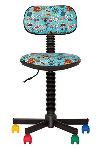 Bambo–Silla de escritorio infantil ergonómica, altura del asiento ajustable de 42cm-56cm, giratoria a 360/ruedas multicolores/negras