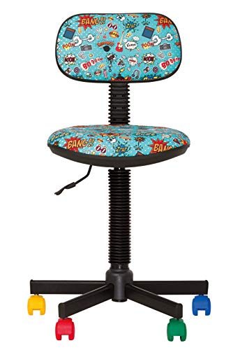 BAMBO - Sedia da ufficio per bambini, ergonomica, altezza della seduta 42 cm - 56 cm. Altezza schienale regolabile/sedile girevole a 360°/ruote multicolore/nera. -