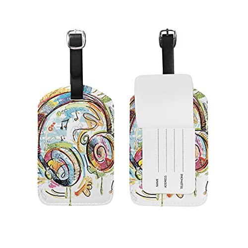 Música De Auriculares De Color Viaje Etiqueta del Equipaje con la Tarjeta de la ID del Nombre Etiquetas de la Maleta para Niños Niñas(3PACK)