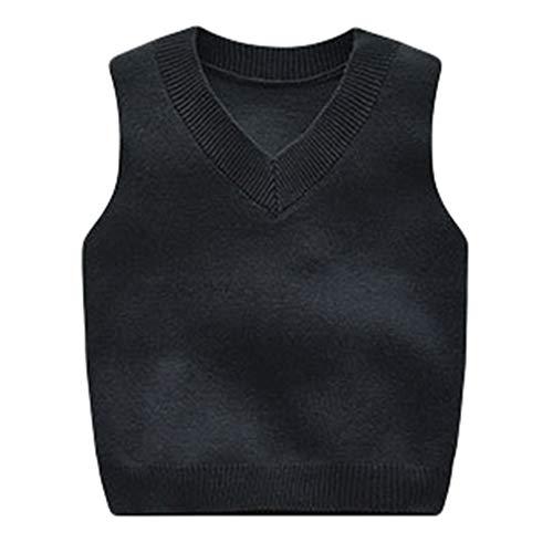 Mxssi Kinder Weste - Unisex Kind V-Ausschnitt Strickweste Mode Freizeit Weste Sweater Herbst Winter Neu Täglich Warm Sweatshirt