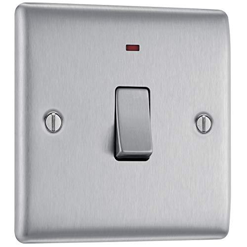 Masterplug NBS31 20A - Interruptor de luz con neón, 2 polos, en acero cepillado