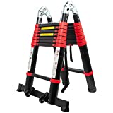 BEETRO 16.5ft Aluminum Telescoping Ladder with Wheels, Easy Carry A Type Portable Telescopic Extension Ladder for Outdoor Working Household Use 330lb Capacity More Durable and Safer with Balance Rod