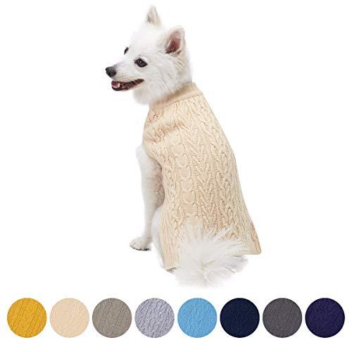 Blueberry Pet Meisterhaftes Klassisches Zopfmuster Beige Creme Hundepulli, Rückenlänge 36cm, Einzelpackung Hundebekleidung