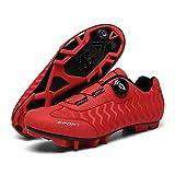 Zapatillas de Ciclismo, Zapatillas de Ciclismo Bicicleta de Montaña,Calzado de Ciclismo Al Aire Libre Transpirable MTB para Hombre con Tacos SPD para Mujer,Red-EU42