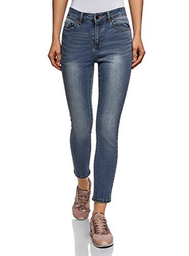 oodji Ultra Donna Jeans Skinny a Vita Alta, Blu, 25W / 32L (IT 38 / EU 34 / XXS)