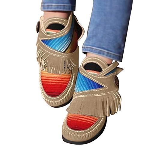 Fanville Damen Stiefeletten Komfort Plattform Schuhe Cowgirl Kunstleder Mokassins Weiche Sohle Fransen Retro Flache Frauen Stiefeletten Schuhe