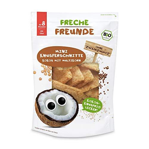 Freche Freunde Bio Mini Knusperschnitte Kokos mit Buchweizen & Quinoa, Knabberzeug für Babys ab 8 Monaten, glutenfrei, Vorratspack (1 x 50 g)