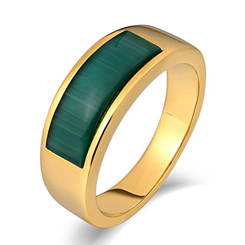 SonMo Stainless Steel Herren Ringe Bandring Bernstein Ring Herren Gold Signet Ring Band Ring Daumenring für Mann