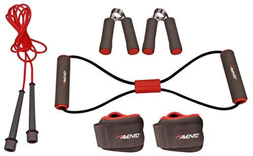 Schreuders Sport Avento Steel Set de Fitness 6 pièces, Mixte, 41VE-GRR-Uni, Gris/Rose/Noir, Taille Unique
