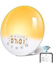 KYG Wake Up Light Despertador Luz, Despertador Simulación de Amanecer y Atardecer con 2 Alarmas, 7 Luces de Colores, Función Snooze, 8 Sonidos Naturales, Radio FM, 30 Niveles de Brillo