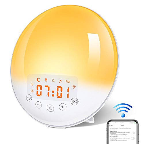 Smart Lichtwecker WiFi Wake Up Lichtwecker mit Sonnenaufgang Sonnenuntergang Simulation/ 30 Helligkeit/7 Farben/ 8 Alarme/ 15 Stufen Lautstärke/ Schlummerfunktion/ FM Radio von KYG