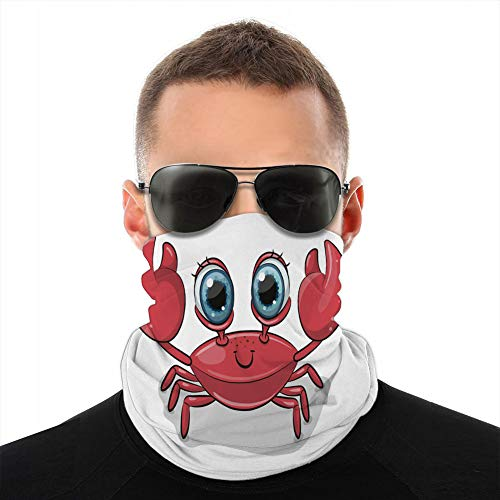jiilwkie Microfiber Cover/Neck Gaiter Head Wrap,Cover Shield Cartoon Crab Isolated on a White Background Mouth Cover