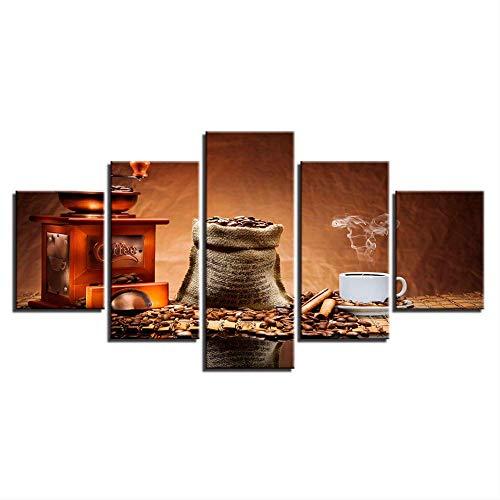 Iwino 5 Stück Leinwandgemälde, frisch gemahlene Kaffeebohnen und Tassen, braune Bilder für Küche, Esszimmer, Café, Wanddekoration, Größe 4, ohne Rahmen