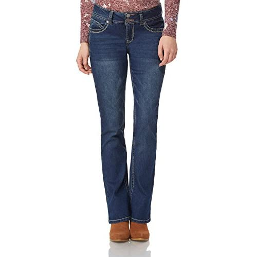 WallFlower Women's Juniors Luscious Curvy Stretch Denim Bootcut Jeans (Size: 0-24 Plus / 30-32-34 Inseam)