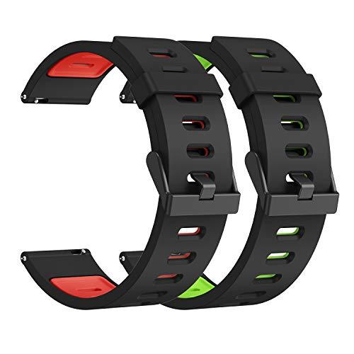 22mm Xiaomi Huami Correa, Silicona Doble Color Deporte Pulsera de Repuesto, Compatible Samsung Gear S3/Galaxy Watch 46mm/Huawei Watch GT 46mm/Huawei Watch GT 2 46mm/GTR 47mm Banda, 2Piezas-B
