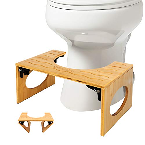BQYPOWER Squatting Toilet Stool, Bamboo 8 Inch Toilet Potty Stool, Foldable Bathroom Squatting Urinal with Non-Slip Mat for Adults Children