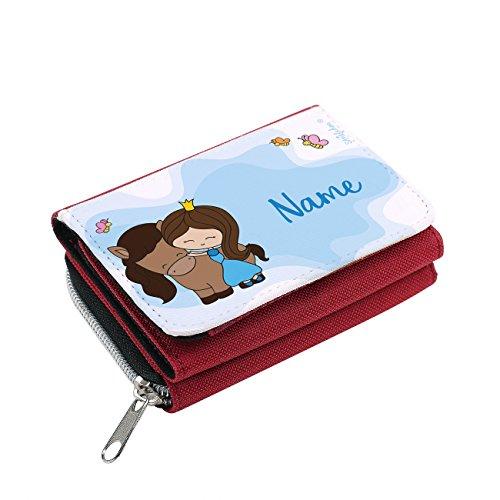 Striefchen® Mädchen Geldbörse mit Prinzessin - Gratis Namensaufdruck - mit Geschenkverpackung Rot