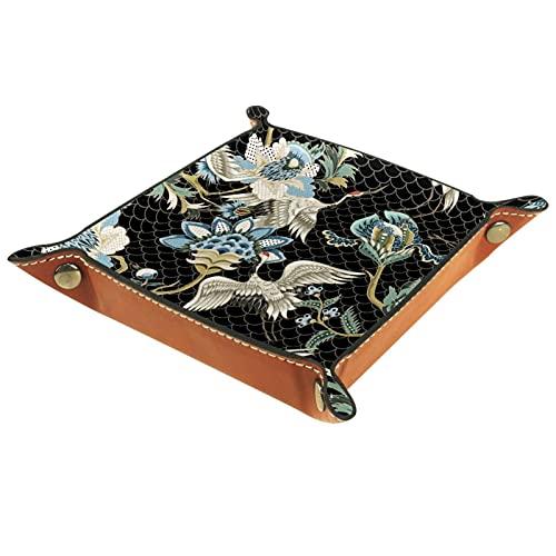 CAITIAN Bandeja plegable de cuero de la PU para el reloj joyería almacenamiento caso titular étnico japonés grúas 16x16cm