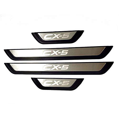 BNHHB 4 StüCk Auto Edelstahl TüRschwelle für Mazda CX-5 CX 5 CX5 KF 2017 2018 2019 2020, Trittbleche, Einstiegsleistenschutz, Styling-Dekorationszubehör