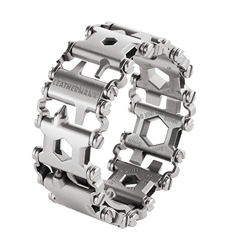 Leatherman Tread Metric - Heavy-duty multipurpose multi-tool bracelet with 29 tools including screwdrivers, hex drives and wrenches, DIY tool, made in USA, in stainless steel
